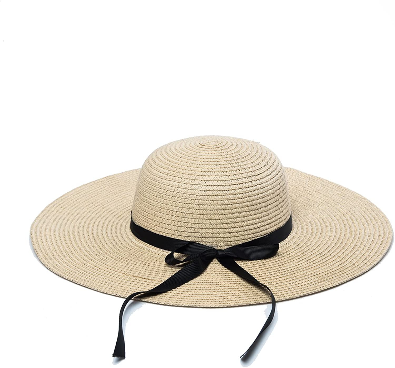Wxinmei Women's Floppy Straw Hat Summer Sun Hat Foldable Big Brim Bowknot Beach Hat