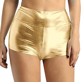 TiaoBug Women Sexy Shiny Stretchy Metallic Liquid Wet Look High Waist Dance Booty Shorts Hot Pants Bottoms
