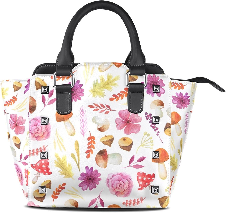 My Little Nest Women's Top Handle Satchel Handbag Watercolor Leaves Flowers Mushroom Ladies PU Leather Shoulder Bag Crossbody Bag
