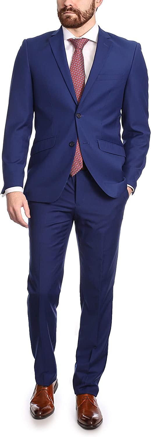 Mens Classic Fit Two Button 100% Wool 2 Piece Suit