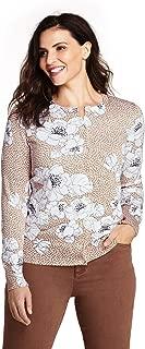 Women's Plus Size Supima Cotton Long Sleeve Cardigan Sweater - Print