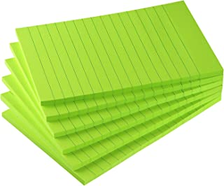 Early Buy 6 Pads Lined Sticky Notes with Lines 4x6 Self-Stick Notes Bright Color Sticky Notes, 45 Sheets/Pad (Green)