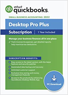 QuickBooks Desktop Pro Plus 2022 Accounting Software for Small Business 1-Year Subscription with Shortcut Guide [PC Download]
