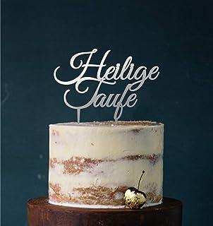 Manschin-Laserdesign Cake Topper Acryl/Holz heilige Taufe, Topper, Caketopper, Einstecker, Stecker, Torte, Kuchen, Tortenstecker Spiegel Silber Einseitig Art.Nr. 5051
