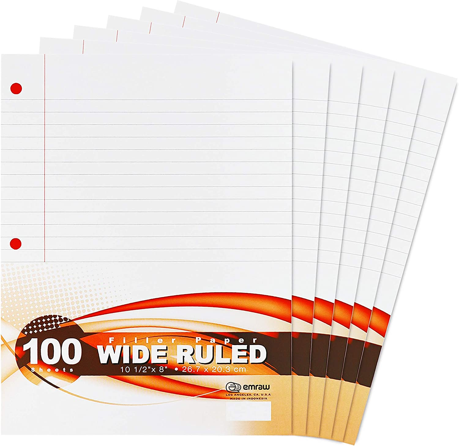 Total 600 Sheets 100 Sheets Per Pack Perfect for Normal Everyday Notetaking 8x10.5 x 0.32 Inch 6 Pack Emraw Wide Ruled Filler Paper