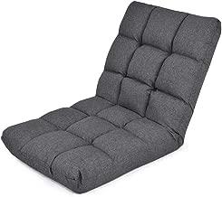 Giantex Adjustable Floor Gaming Sofa Chair 14-Position Cushioned Folding Lazy Recliner (Dark Grey)