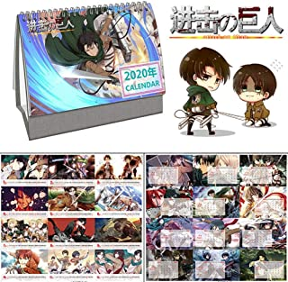 Beautymei Anime 2020 Desk Calendar Cute Cartoon Desktop Calendar Hot Gift for Anime Fans(Attack on Titan)