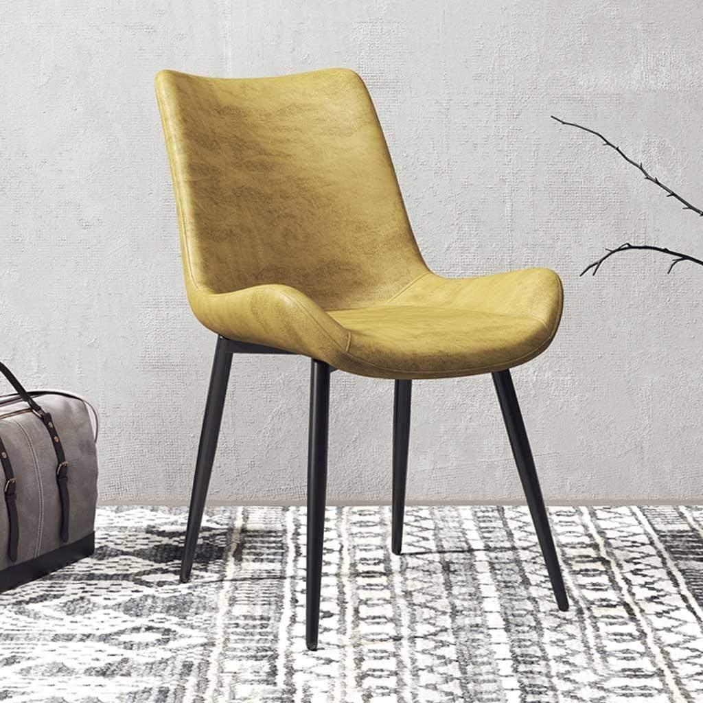 LRXG Chaise de Salle à Manger, café, café, théière Nordic Casual Shop Home Dossier rétro for Restaurant, Table à Vent en Fer forgé Industrielle (Color : Dark Brown) Yellow