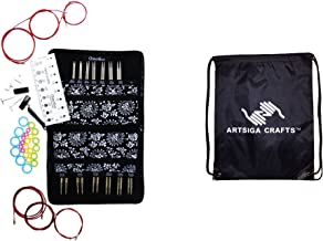 ChiaoGoo Knitting Needles Twist Red Lace Interchangeable Set Complete: Sizes US 2 (2.75mm)-US 15 (10mm) Bundle with 1 Artsiga Crafts Project Bag 7500-C