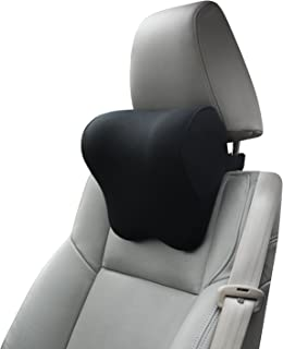 Car Pillow with Adjustable Strap Thick Memory Foam Neck Support for Car Seat Headrest for DrivingBlack