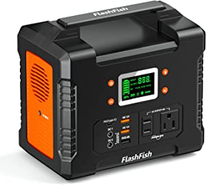 330W Portable Power Station, FF FLASHFISH 81000mAh 300Wh Solar Generator With 110V AC/DC/USB/PD-Type-c/Car Port/SOS Light, Backup Battery Pack Power For CPAP Outdoor Adventure Camping Emergency
