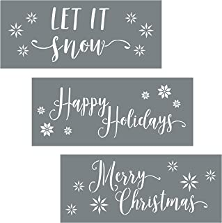 Christmas Stencils - Pack of 3 Holiday Stencils for Creating Festive Christmas Decor - Merry Christmas Stencil, Let It Snow and Happy Holiday Stencil Set
