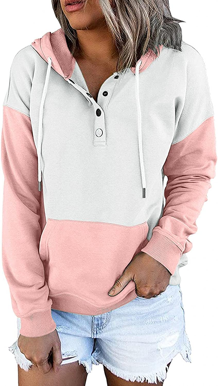 felwors Hoodies for Women, Womens Pullover Hoodies Button Down Long Sleeve Sweatshirt Basic Loose Plus Size Casual Coat