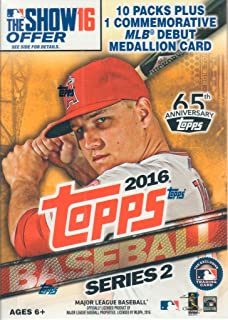 2016 Topps MLB Baseball Series #2 Unopened Blaster Box with One Exclusive MLB Debut Commemorative Medallion Card and 10 Packs of 10 Cards, 101 Cards Total