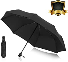 AIKELIDA Travel Umbrella, Windproof Mini Small Compact 8 Ribs Automatic Sun & Rain Umbrella - Fits Men & Women, Gift Choice - Black