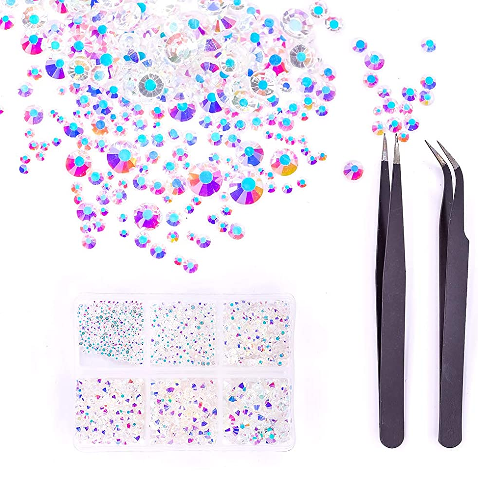 MIOBLET 1840pcs Crystals Nude AB Nail Art Rhinestones Round Beads Top Grade Flatback Glass Charms Gems Stones in Box and 2pcs Tweezers for Nails Decoration Crafts Eye Makeup Clothes Shoes