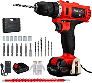 TEENO Cordless Drill Driver, 21V 1.5Ah Max Lithium-Ion Battery Drill Driver Kit with 2 Variable Speeds, 21pcs Accessories,...