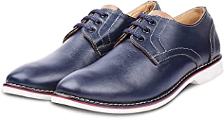Kanprom Men's Blue Genuine Leather Casual Derby Round Toe Lace-Up Shoes