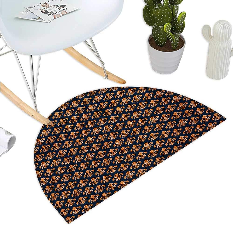Fleur De Lis Semicircle Doormat Western Culture Inspired Ancient Symbol Ornamental Elements Floral Vintage Halfmoon doormats H 35.4  xD 53.1  Indigo orange
