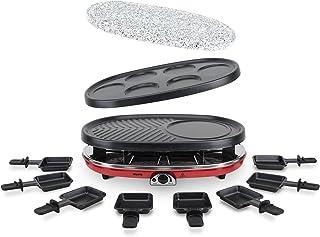 comprar comparacion H.Koenig RP418 Raclette - Grill para 8 personas, 1500 W, Acero Inoxidable, Negro, Gris, Rojo