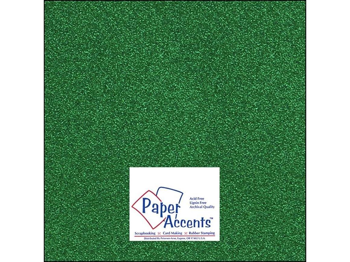 Accent Design Paper Accents Cdstk Glitter 12x12 85# Green