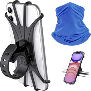 Universal Phone Mount Holder for Bike Motorcycle and Any Handlebars, 1 Silicone Cradle for iPhone Galaxy Pixel 4-6.5 Phone; 1 Unisex Blue Face Tube Scarf UV Dust Cover Neck Gaiter for Outdoor Sports