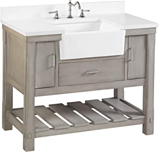 Charlotte 42-inch Bathroom Vanity (Quartz/Weathered Gray): Includes a Quartz Countertop, Weathered Gray Cabinet with Soft Close Drawers, and White Ceramic Farmhouse Apron Sink