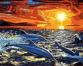 Wwbqcl Modern Mural Image Through Digital 5D DIY Painting or Dolphins on Adult Children's Beginner Acrylic Canvas at Sunset with Frame Painting, Oil Painting, Children's Handcraft