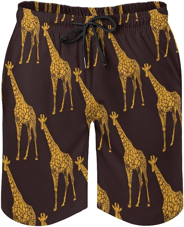 Men's Swim Trunks Long Board Shorts Beach Swimwear Bathing Suits with Pockets, Animal Giraffe White
