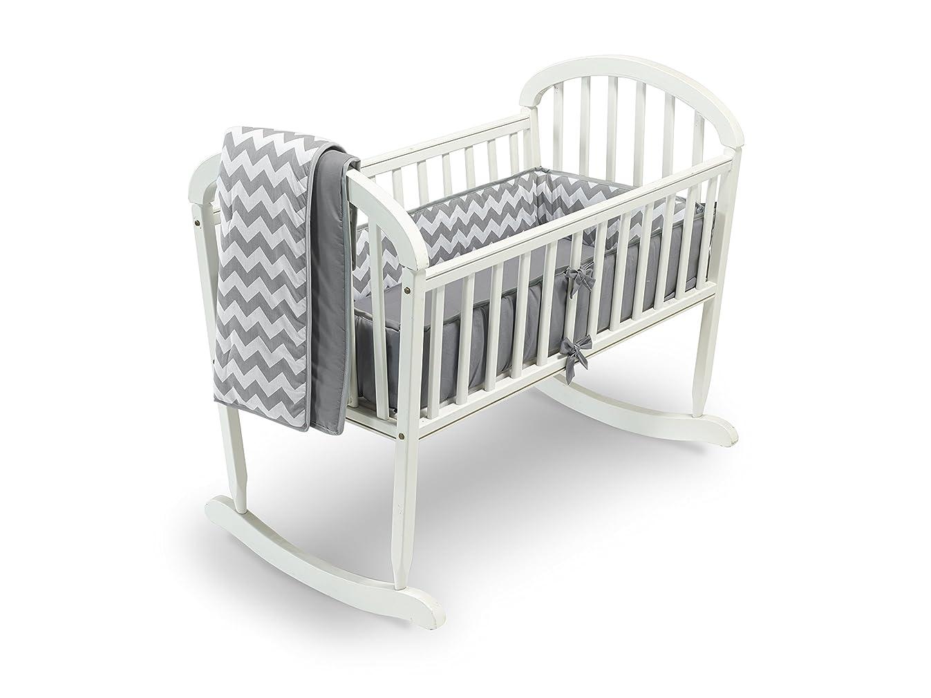 Baby Doll Bedding Chevron Cradle Bedding Set, Grey