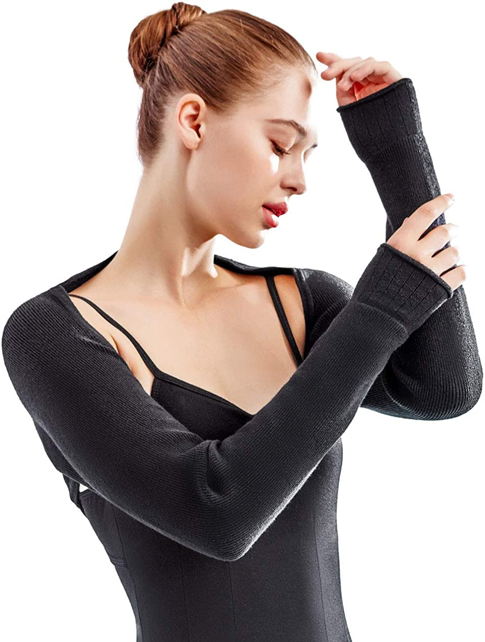 Petite Women Dance Shrug Sweater Black Long Sleeve Open Front Ballet Cardigans