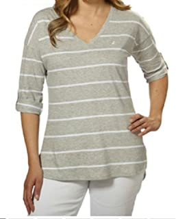 Nautica Ladies' V-Neck Top with Roll Tab Tee