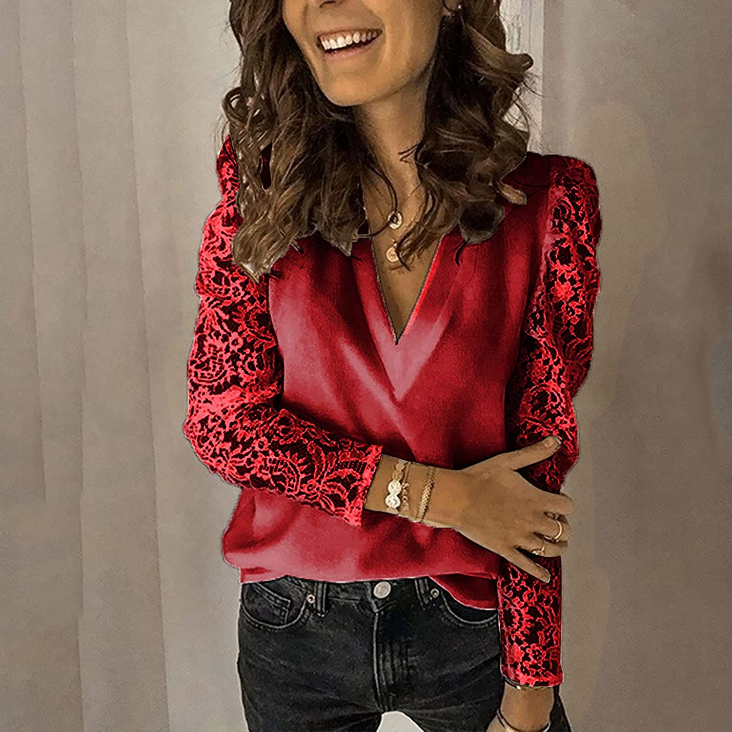 Large Size Women Lace Solid Splicing Long Sleeve Slim Blouse V-Neck Tops Shirt