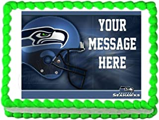 Seahawks Football Edible Cake Image Cake Topper