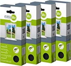 easy life® vliegenhor voor ramen 3,00 x 1,50 m antraciet transparant - perfecte bescherming tegen insecten (set van 4)