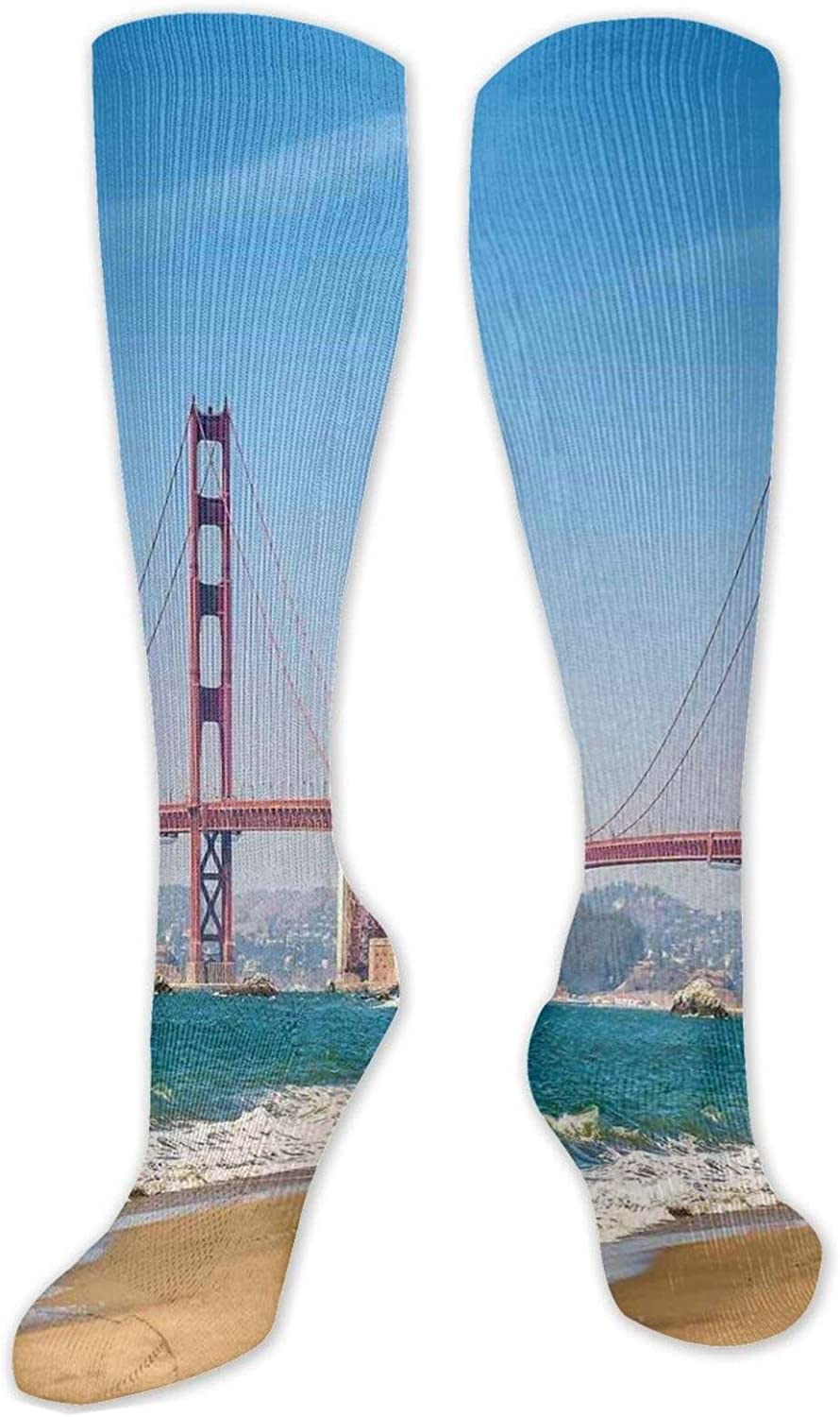 Compression High Socks-Beautiful Flowers Bloom In Nostalgic Colors Best for Running,Athletic,Hiking,Travel,Flight