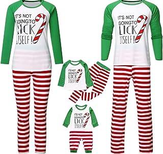 Navidad Pijamas Dos Piezas Familiares, Navidad Bebé Niños Niñas Mameluco Impreso Carta Pantalones Largo A Rayas Ropa de Casa para Familiar Papá Mamá Ropa de Dormir