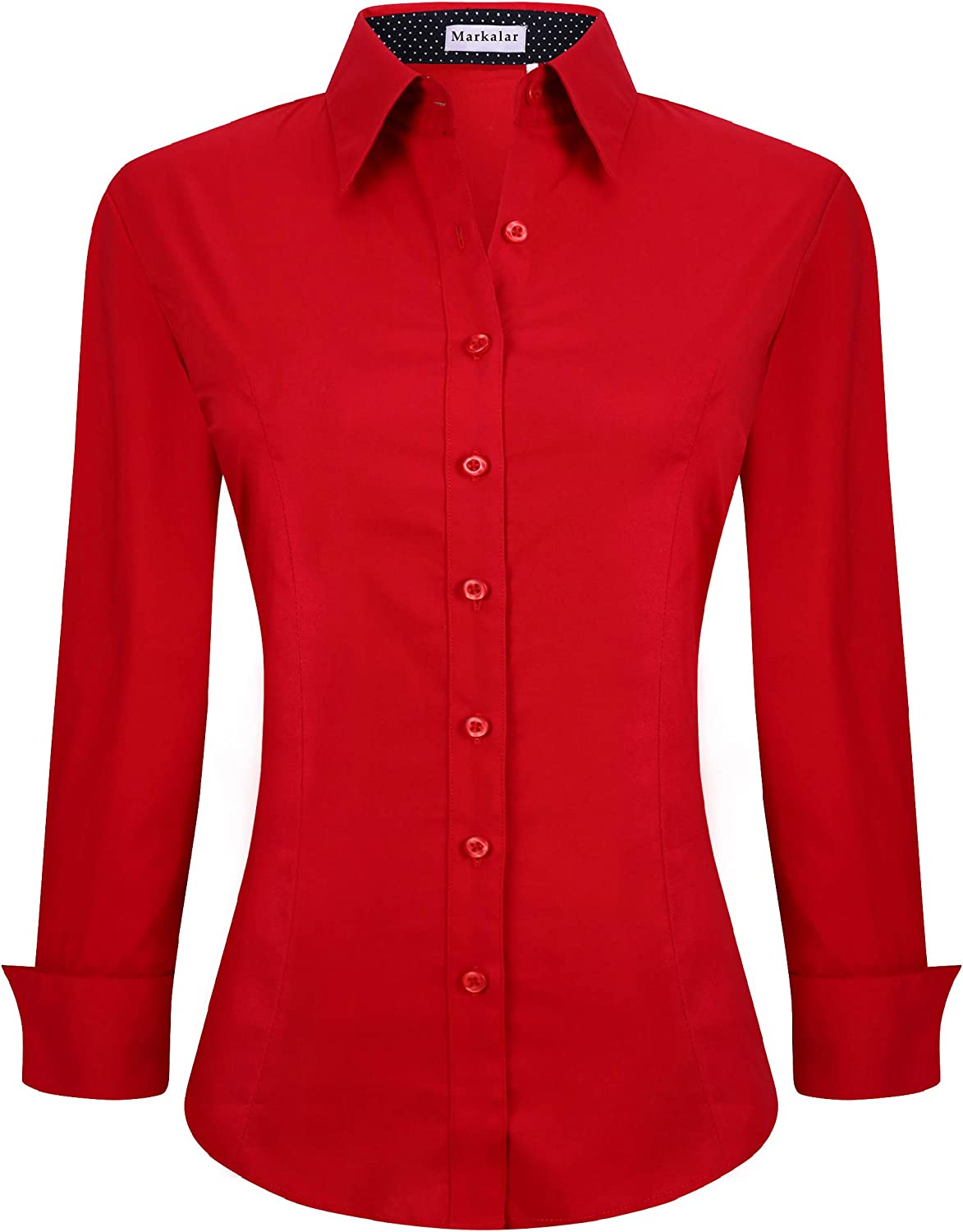 Womens Cotton Stretch Button Down Free Shipping New Ranking TOP19 Long Sleeve Regular Shirt Fit