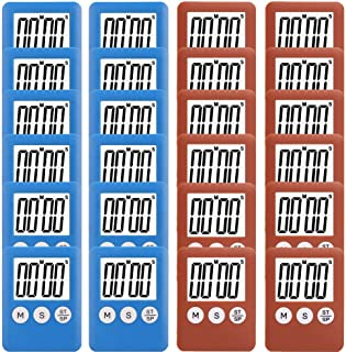 24 Pack Small Mini Digital Kitchen Timer Magnetic Countdown Up Minute Second Timer (12 Brown,12 Blue)