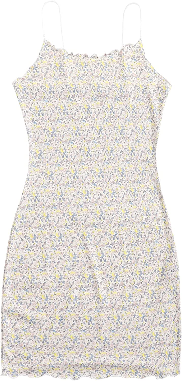 Milumia Women's Plaid Frill Trim Sleeveless Strappy Bodycon Cami Short Pencil Dress