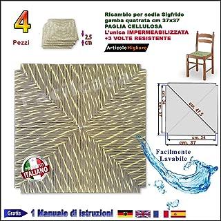 Asiento base de paja sintética,celulosa–Facilcasa–Repuesto para silla, base de sustitución. Material bricolaje.(37x 37 cm) apto para sillas Pisa con patas cuadradas–art. 1001