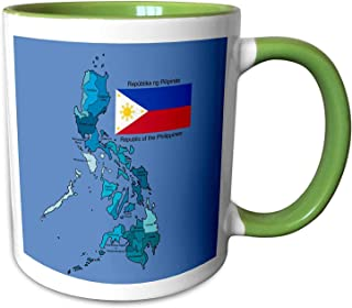 FiuFgyt Flag And Map Of The Republic Of The Philippines Wi Green White Mug Best Funny Gifts Funny Ceramic Coffee Mugs for Coffee Tea Cocoa Cup