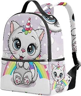 Mochila de dibujos animados gato gatito unicornio arco iris mochila de viaje camping mochilas escolares para niñas niños y mujeres