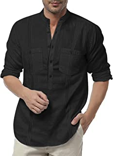 Men's Linen Henley Shirt Long Sleeve Casual Hippie Cotton Beach T Shirts