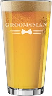 My Personal Memories Pint Glasses for Bachelor Party, Weddings, Wedding Favors, Beer Gifts (Bow Tie Style 16oz, Groomsman Glass)