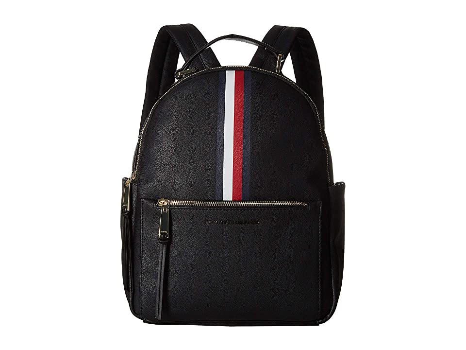Tommy Hilfiger Althea Pebble PVC Backpack (Black) Backpack Bags