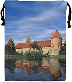 Trakai Castle Lake Galve Lithuania Drawstring Backpack Bags Goody Bags Party Favor Bags Supplies for Boys and Girls