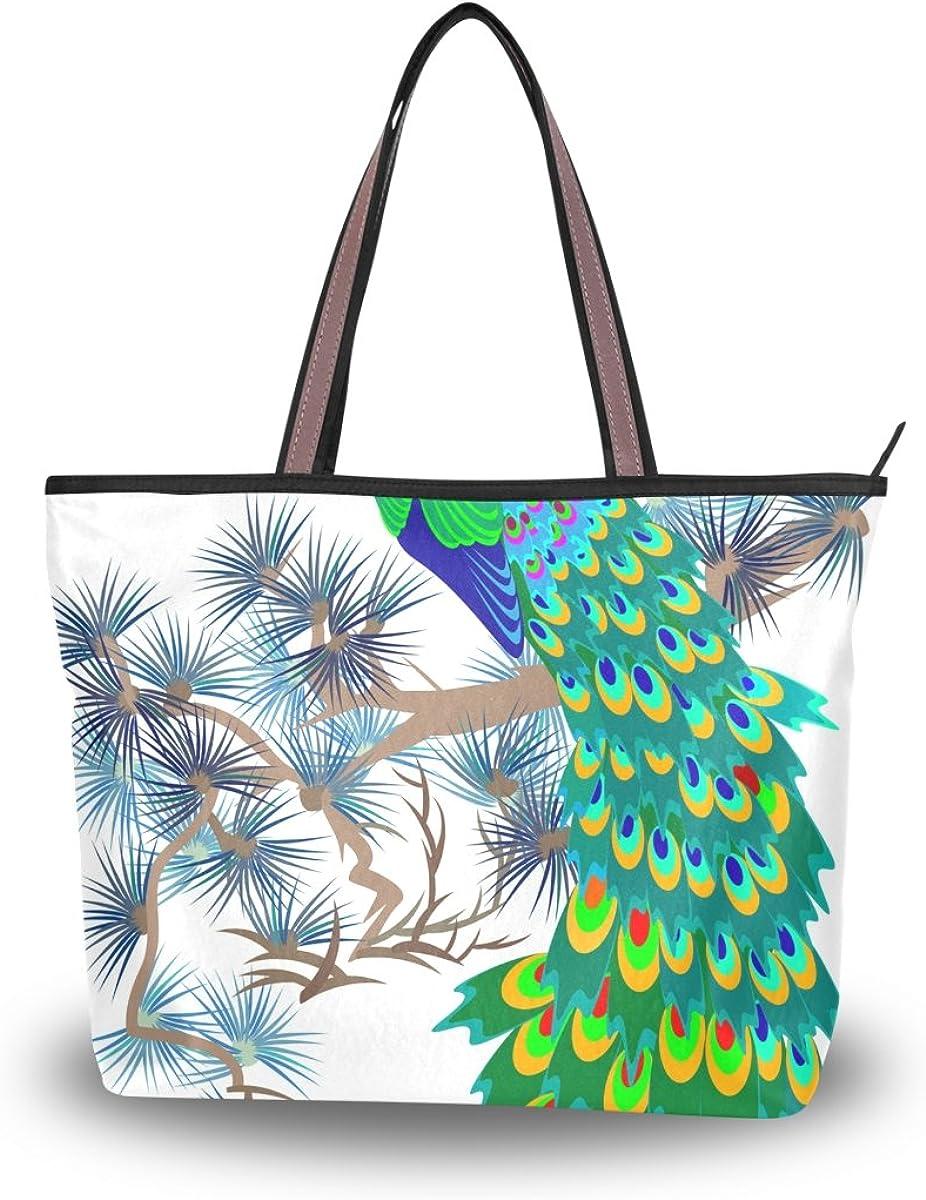 JSTEL Women Large Tote Top Handle Shoulder Bags Peacock Feathers Patern Ladies Handbag L