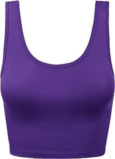Women's Cotton Scoop Neck Racerback Crop Top Sleeveless Tops