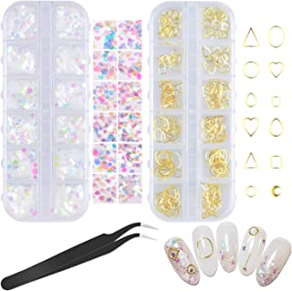 SelfTek Holographic Nail Sequins and Gold Nail Studs 12 Boxs Iridescent Glitter Sticker and 3D Metal Rivets Nail Art Design Make Up DIY Decals Decoration